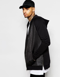 ASOS Longline Zip Up Hoodie With Animal Print Scuba Panel & Zips