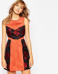 ASOS Jacquard And Suede Mix A-Line Dress - Красно-бурый