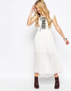 Платье с вышивкой Free People Meadow - Слоновая кость, комбо