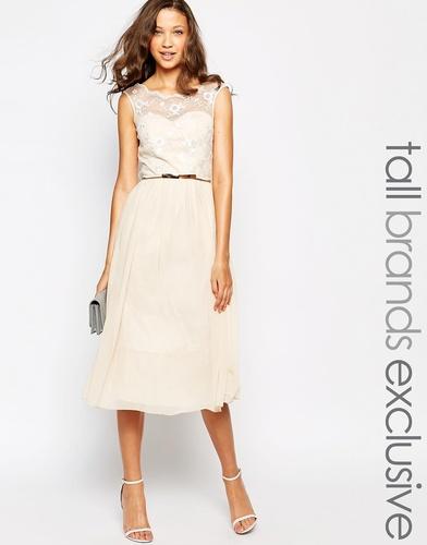 Платье миди для выпускного с кружевом на лифе Little Mistress Tall