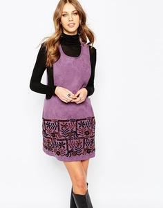 Платье из искусственной замши с вышивкой Anna Sui Swedish Garden