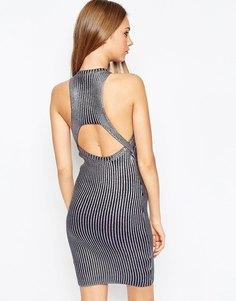 Вязаное платье в рубчик с эффектом металлик ASOS Premium - Темно-синий