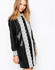 Gat Rimon Okky Black Leather Look Dress in Black - Черный