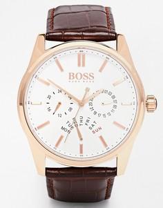 Часы с хронографом и кожаным ремешком Hugo Boss 1513125 - Коричневый