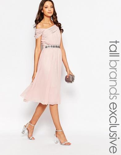 Декорированное платье миди с открытыми плечами Little Mistress Tall