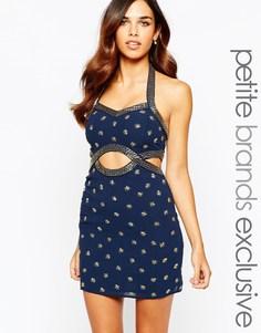 Темно-синее облегающее платье с вырезами и отделкой Maya Petite