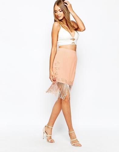 Мини-юбка с вышивкой Missguided - Телесный