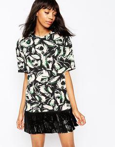 Платье с лиственным принтом Sportmax Code Pergola - Розовый