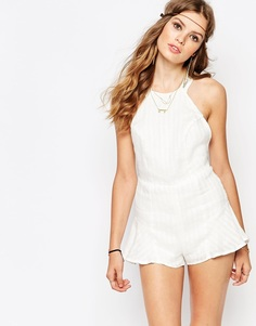 Stone Cold Fox Noah Striped Linen Playsuit in White - Белый