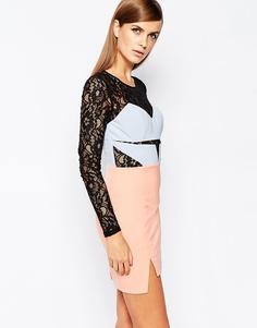 Платье мини с контрастным лифом и юбкой The 8th Sign - Телесный