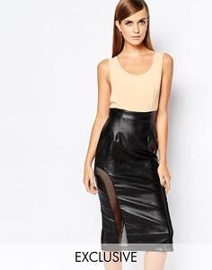 Облегающее платье с сетчатой вставкой на юбке The 8th Sign - Черный
