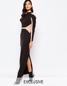 Платье макси с сетчатыми вставками The 8th Sign - Allover black