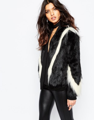 Unreal Fur Fringe Arrows Jacket - Черно-белый