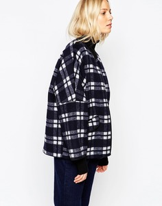 Parka London Katarina Coat In Wool Check - Темно-синий