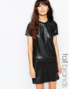 Платье-рубашка из искусственной кожи с молниями Vero Moda Tall