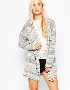 Maison Scotch Woven Boucle Poncho with Fringes - Мульти