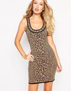 Облегающее платье с леопардовым принтом BCBG MaxAzria - Light nude