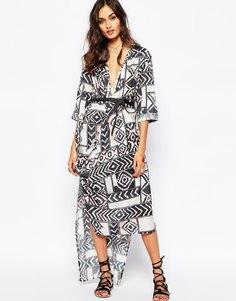 Шелковое платье макси с принтом Stevie May Serpent Trail - Мульти