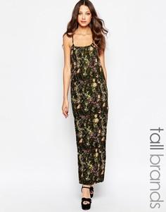 Платье макси без рукавов с принтом Noisy May Tall - Khaki multi