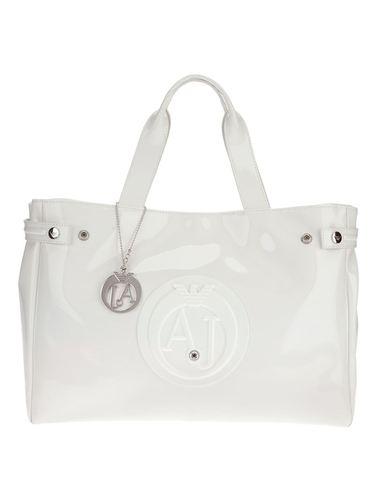 Белая сумка армани джинс