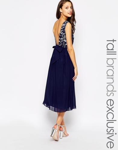 Платье миди для выпускного Little Mistress Tall - Темно-синий