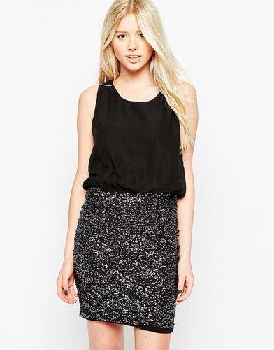 Платье два‑в‑одном с пайетками на юбке Vero Moda - Черный