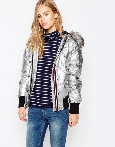 Куртка цвета металлик с искусственным мехом на капюшоне Puffa Jodie