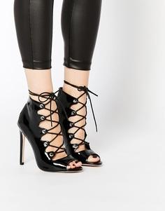 Туфли на высоком каблуке со шнуровкой ASOS PIA - Черный лакированный