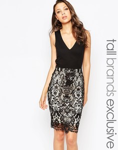 Платье-футляр с глубоким вырезом сзади и кружевной юбкой Paper Dolls T