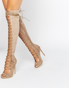 Бежевые сапоги со шнуровкой Daisy Street Ghillie - Серо-коричневый
