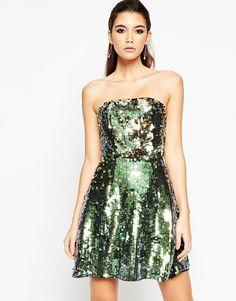 Платье-бандо мини с пайетками ASOS NIGHT - Мульти