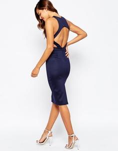 Облегающее платье миди с вырезом сзади ASOS - Темно-синий