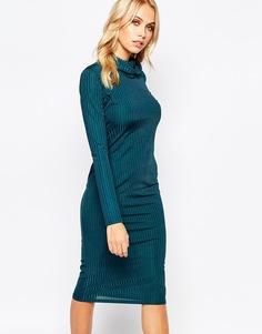 Облегающее платье в рубчик с высокой горловиной Boohoo - Сине-зеленый