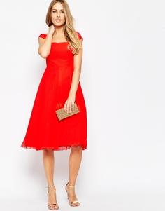 Платье миди в складку с короткими рукавами ASOS Premium - Красный