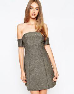 Блестящее платье мини ASOS - Золотой