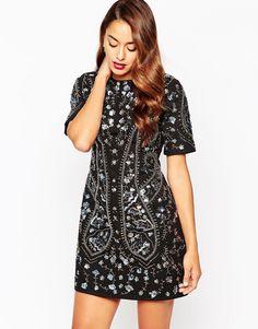Цельнокройное платье со сплошной отделкой ASOS - Черный