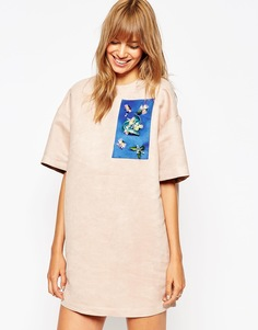 A V Robertson for ASOS BLACK Shift Dress With Embellished Panel