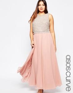 Двухслойное платье макси с отделкой ASOS CURVE - Розовый