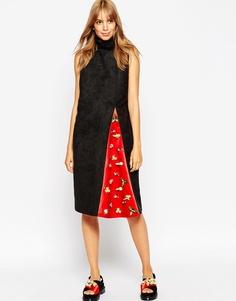 Платье с воротником‑труба и декорированной вставкой A v Robertson for Asos Black