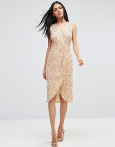 Платье миди с пайетками ASOS - Розовое золото
