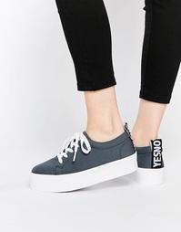Кроссовки на шнуровке и плоской платформе ASOS DACRE - Grey neoprene