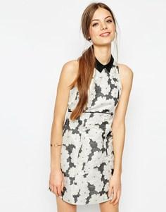 Цельнокройное жаккардовое платье мини с воротником ASOS - Мульти