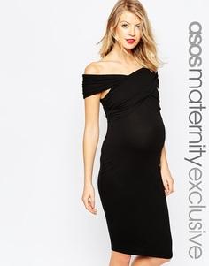 Облегающее платье миди для беременных ASOS Maternity - Черный