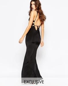 Платье макси с открытой спинкой NaaNaa - Черный