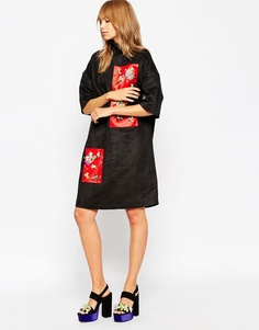 A V Robertson for ASOS BLACK Funnel Neck Dress With Embellished Panel