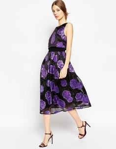 Платье миди для выпускного из органзы с укороченным топом ASOS