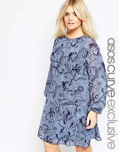 Платье с обойным принтом ASOS CURVE - Мульти
