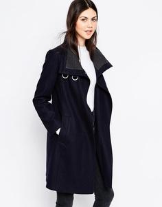 Пальто с высоким воротом ASOS - Темно-синий и серый