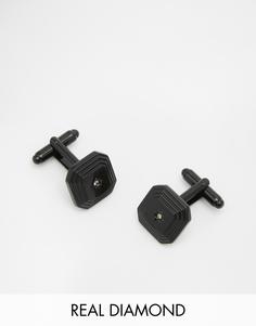 Запонки с черными бриллиантами ASOS - Черный