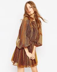 Короткое приталенное платье с пышным рукавом на манжете ASOS - Золотой